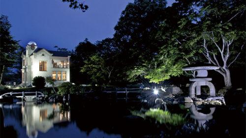〈大仙市〉「旧池田氏庭園」初夏のイルミネーションライトアップ▷幻想的な姿を見せる夜の日本庭園