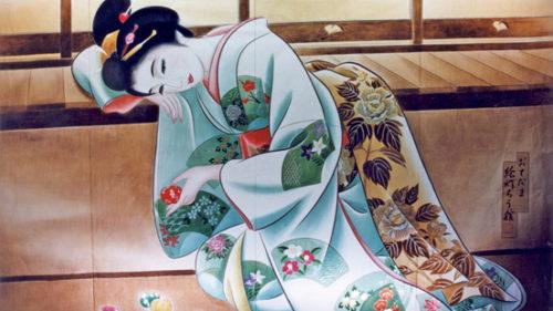 〈湯沢市〉七夕絵どうろうまつり ▷優美な女性の姿が浮かび上がる