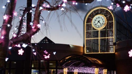 〈井川町〉井川さくら駅イルミネーション▷ピンクのライトで満開の桜を表現