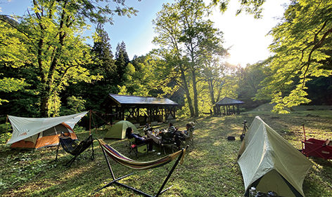 〈藤里町〉くるみ台キャンプ場▷登山や渓流釣りに大活躍の野営場