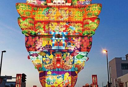〈能代市〉能代七夕「天空の不夜城」展示▷高さ日本一の城郭灯籠が見られる機会