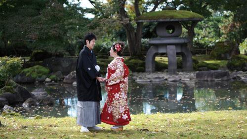 〈大仙市〉旧池田氏庭園で結婚式の前撮り▷美しい庭園を背景に記念に残る前撮りをしよう